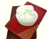 Trinket Box. Greyhound Sleeping Dog Figure. Oval White Glazed Ceramic. Domed. Jewelry Holder. Animal Keepsake Box Vintage Vanity Table Décor