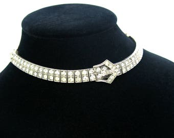 Art Deco Collar Necklace. Diamonbar Sterling Silver Paste Buckle & Circle Choker. Rare Antique Wachenheimer 1910's Wedding, Special Occasion