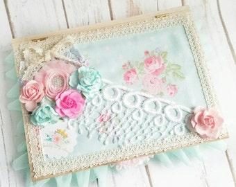 BABY Girl Box, Shabby Chic Box, Roses Wood Box, Wedding Keepsake Box, Pink Roses, Cottage Chic Box, Handmade Box, Floral Fabric Box