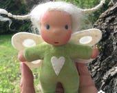 Mini Fae Doll Tuva, green romper, fairy wings