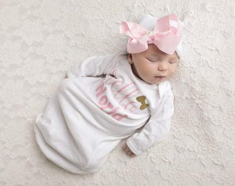 baby girl coming home outfit, coming home gown, outfit for girl, newborn baby girl outfit, baby girl layette, bodysuit, hello world, posh