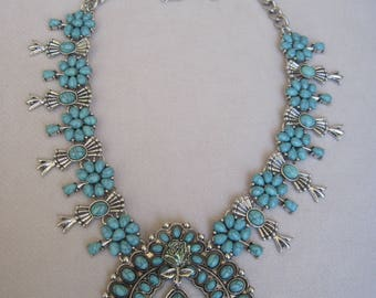 Southwestern Howlite Turquoise and Silver Squash Blossom with Rose Bib Necklace