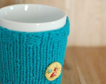 Eco friendly hand knit cup cozy Handmade mug cozy Coffee mug cozy Cup cozy Cup sleeve Tea cozy Mug cozy recycled yarn recycled yarn teal