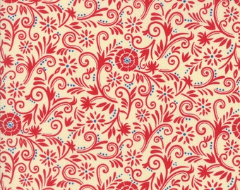 SALE, Sew American New Collection from Moda Fabrics, Designer Deb Strain, Cream 19785 11, Red, Cream with a Touch of Blue