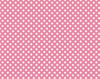 SALE, Small Dots Hot Pink, C350-70 Hot Pink by Riley Blake , 1/4 Inch White Dots on Hot Pink
