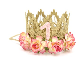 First Birthday|| MINI Sienna crown gold || fairy kiss flowers lace crown headband|| photo prop || customize ANY AGE||