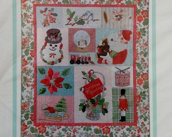 The Vintage Spool CHRISTMAS GREETINGS Block Of The Month Complete Set - Applique 12 Quilt Blocks Template Set