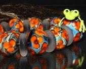 AV-Beads handmade Lampwork Flowerbeadset SRA
