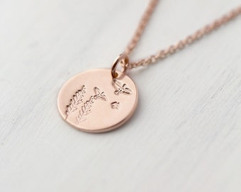 Tiny Rose Gold Necklace Trees Birds Nature, Summer Outdoors Hand Stamped Jewelry Gift for Her, Rose Gold Filled Jewelry Handmade by Burnish