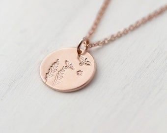 Rose Gold Necklace Trees Birds Nature, Hand Stamped Jewelry Wife Girlfriend Gift for Her, Rose Gold Filled Jewelry Handmade by Burnish