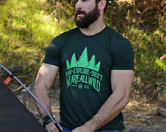 Men's t-shirts - Green crew neck short sleeve t-shirt for men - Roam - Drift - Explore - graphic tees for men - Gifts for him. Gift for men