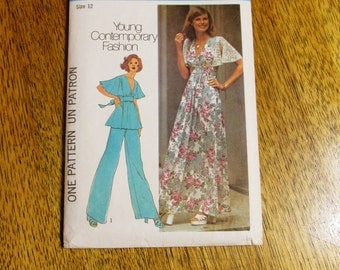 1970s BOHO Midriff Maxi Dress or Festival Top w/ Flutter Sleeves - CHOOSE Size (8 or 12) - UNCUT Vintage Sewing Pattern Simplicity 6710