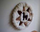 Small Handmade Vintage Alpaca Print, Rug, Wall Decor, Boho,  Bohemian, Southwestern, Natural, Rustic, Textile, Fiber