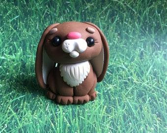 Little  Brown Bunny Rabbit - Polymer Clay Sculpture - Cake Topper Keepsake - Art by Sarah Price