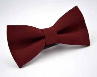 Mens Bowtie in Maroon Suiting Material, Burgundy Bow Tie, Marsala Bow Tie, Groomsmen Bow Tie, Wedding Bowties, Adjustable Bow Tie