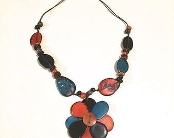 Tagua Necklace/ Flower Tagua Necklace/ Boho Necklace