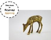 RESERVED - Vintage Primitive Brass Deer Figurine