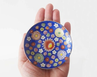 Vintage Mini Plate with Hand Painted Flowers Made in Japan