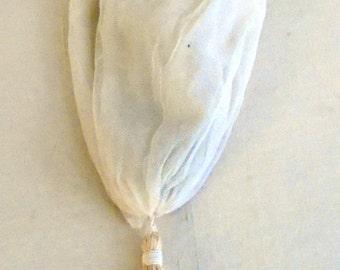 Vintage 1910s Cotton Net Drawstring Bag Off White Purse Edwardian Summer Purse Wedding