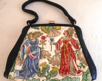 Vintage 1950s Novelty Purse Medieval Tapestry Scene Top Handle Trapunto Purse