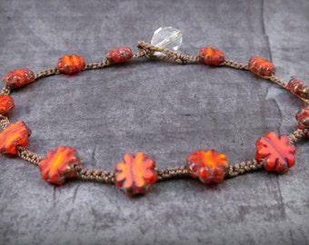 Flower Crochet Anklet,  Hippie Chic Jewelry, Rustic, Red, Bohemian Crochet Jewelry