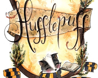 Print Hufflepuff Pride - Hogwarts Art - Fandom art print - Harry Potter Painting- Book lovers - Gifts for Booknerds