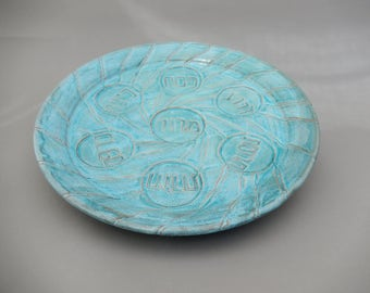 Pesach Seder Plate - Passover Turquoise Pottery -  Carved Platter
