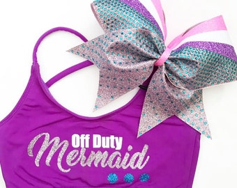 New OFF DUTY MERMAID- Holiday Sports Bra & Bow - cheer dance gymnast dancewear october girls child woman adult teen christmas