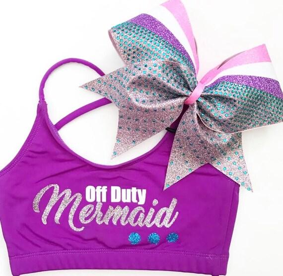 New OFF DUTY MERMAID- Holiday Sports Bra & Bow - cheer dance gymnast dancewear october girls child woman adult teen christmas