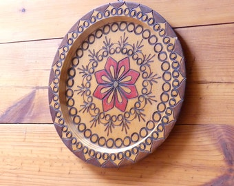 Vintage Antique Collectable Pokerwork Floral Design Wood Plaque Wall Art