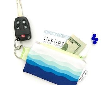 Waves Recycled Key-chain Coin Purse, Nautical Mini Zipper Pouch, Ocean Wallet, Beach Girl Handmade Gift, Blue Credit Card Holder, Water Bag