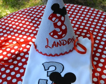 Mickey Mouse Shirt and Birthday Hat Set, Personalized, Sizes 12 Mos, 18 Mos, 2, 3, 4, 5, 6, 8