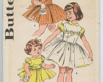 1960's Butterick 9316 Vintage Sewing Pattern Girl's Full Skirted Party Dress & Pinafore Breast 24 UNCUT