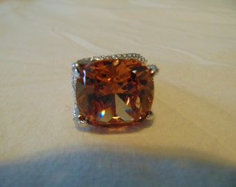 vintage statement ring sz. 8 cognac cz crystals silver sparkling bold topaz