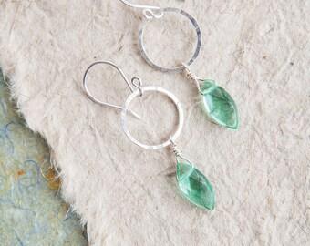 Aqua Quartz Earrings, Ocean Green, Quartz Earrings, Bridal Jewelry, Quartz Jewelry, Hoop Earrings, Quartz Hoops