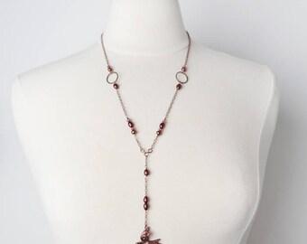 Copper Bird, Pink, Bird Necklace, Copper Necklace, Lariat Necklace, Long Necklace, Long Copper, Bird Jewelry, Pink Copper, Free Bird