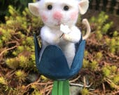 RESERVED FOR GLORIA- Needle Felted Wool Mini Mouse Tucked In Tulip
