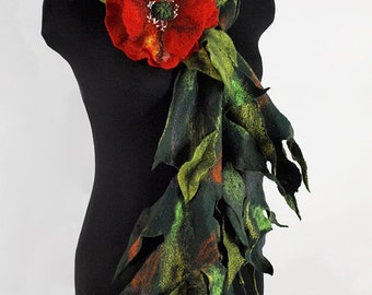 "Scarf eco boho handmade felted ""Poppy"" (scarves eco-friendly boho-chic handmade felted buy)"