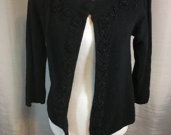 Black Cardigan Sweater with Hand Beaded Flower Trim 3/4 Sleeves 1 Covered Button Wool & Angora by Ladies Small Previously 28 Dollars ON SALE