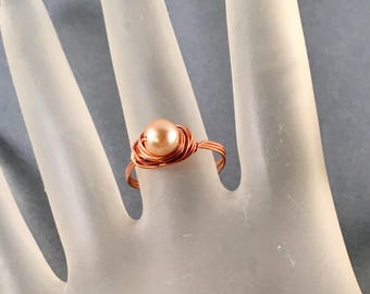Copper Pearl Ring with White Glass Pearl, Wire Wrapped Copper Ring