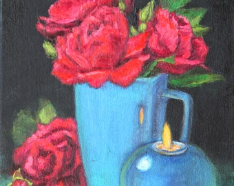 "ON SALE, Red Rose Painting, Original Oil Still Life Painting, 12 x 9"", ""Red Roses with Candle"" by Kim Stenberg, Ready to Hang Art"