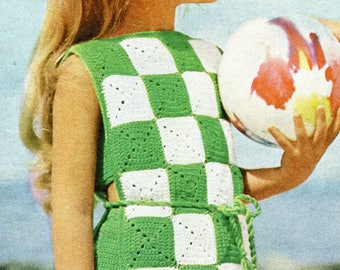 1960's Little Girl Checked Beach Coverup & Two Piece Swimsuit Crochet Instant Download PDF Pattern