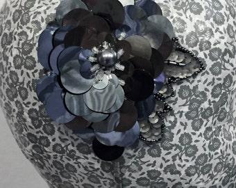 pewter grey sequinned & beaded headband