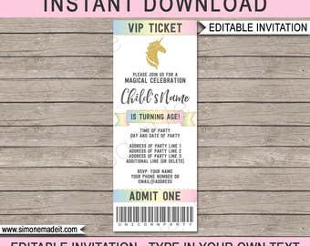 Unicorn Ticket Invitation - Unicorn Birthday Party - Printable Invite - Magical Birthday - INSTANT DOWNLOAD with EDITABLE text