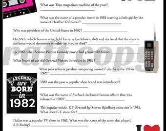 1982 Birthday Trivia Game