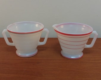 Cream and Sugar Deco Serving Set / Red Black Trim Milk Glass Containers / Hazel Atlas Platonite