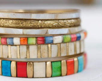 Colorful Bangles of Bone and Brass Bangles - Instant Collection of 4 Boho Bracelets - Gypsy cuff
