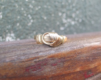 Antique 18k Yellow Gold Fede Gimmel Ring with Diamond Heart