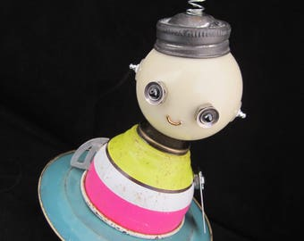 Retro Girl Bot - found object robot sculpture assemblage by Cheri Kudja with Bitti Bots