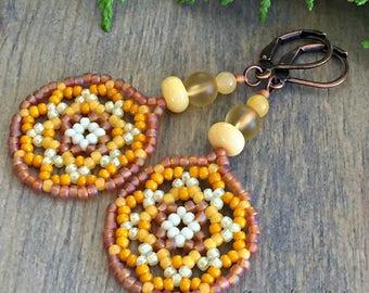 Honey Bee mandala earrings , Huichol jewelry